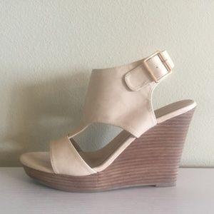 RESTRICTED | Cream Wedge Platform Sandals